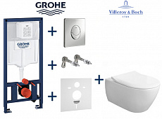 Комплект инсталляции Grohe Rapid SL 38721001 с унитазом Villeroy&Boch Subway 2.0 DirectFlush 5614R201 с сиденьем SlimSeat Soft Closing
